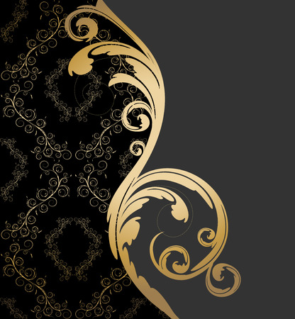 Vector black, gray and gold background with floral wave and ornament Illustration