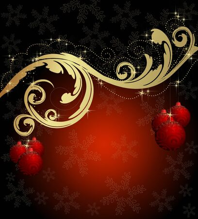 golden ball: Christmas black and red background with balls and snowflakes Stock Photo