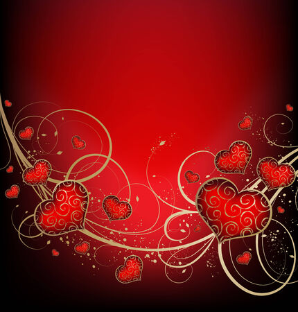 Valentines vector background with hearts and golden ornate Vector