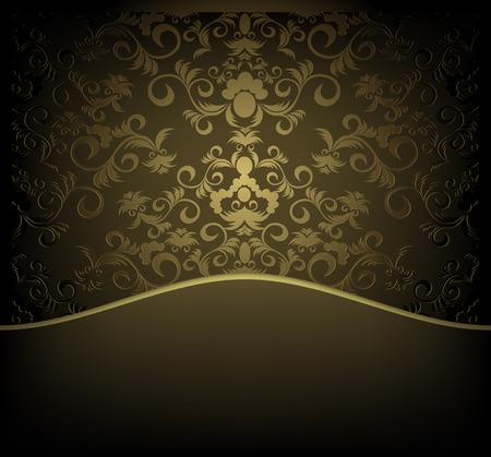 waved: Vector decorative design background with floral golden ornament Illustration
