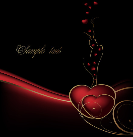 waved: Valentines black, red and gold background with hearts and lovers