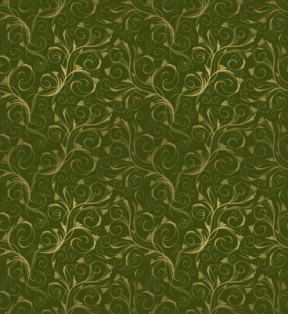 green and gold: Seamless green and gold beauty decorative floral ornament Illustration