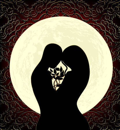 Silhouettes of lovers, a big full moon and ornament Vectores
