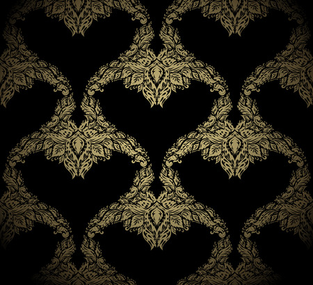 venetian victorian: Seamless golden beauty vector ornament on a black background
