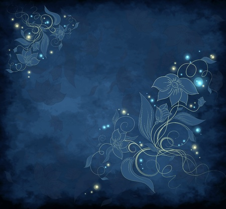 Blue and golden magic floral design background Stock Photo - 9057534