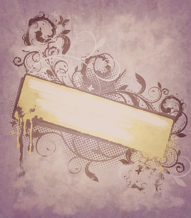 scroll border: Grunge background with decorative floral design