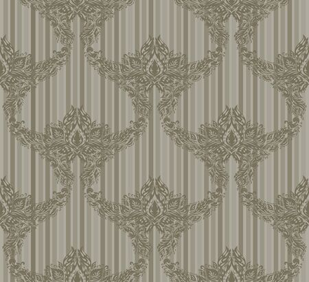 Seamless vector floral ornament on a striped background Vector