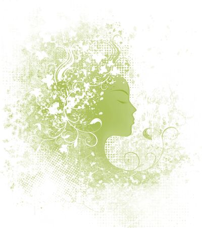 Grunge background with decorative floral design woman Stock Photo - 9326335
