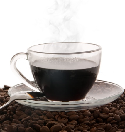 Cup of hot black coffee isolated on a white background photo