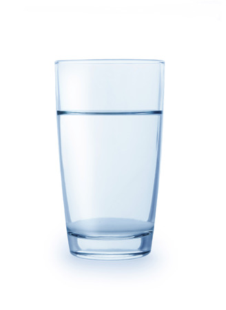 Glass of clean water isolated on a white background photo