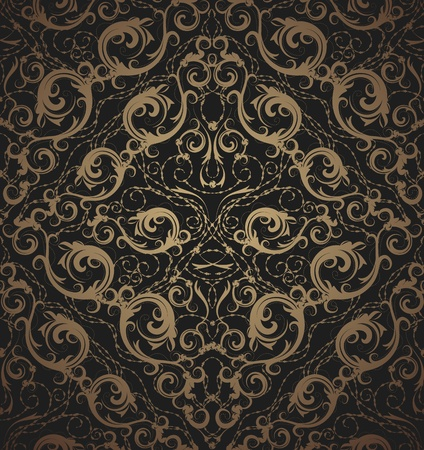 gold seamless: Floral vector black and gold seamless royal beauty ornament
