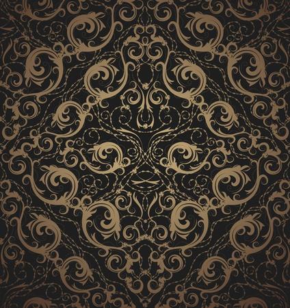 floral vector: Floral vector ornamentos de oro y negro belleza real transparente Vectores