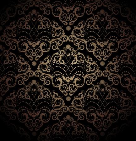 Floral vecteur ornement noir et or de beauté royal sans soudure