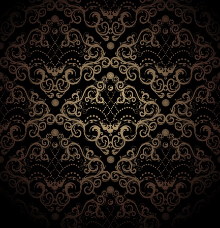 venetian: Floral vector black and gold seamless royal beauty ornament