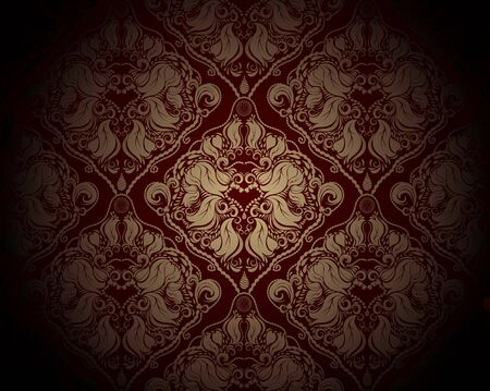 Abstract fantasy red and golden background with floral ornate Vector