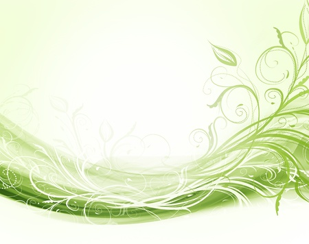Abstract modern floral green and white background