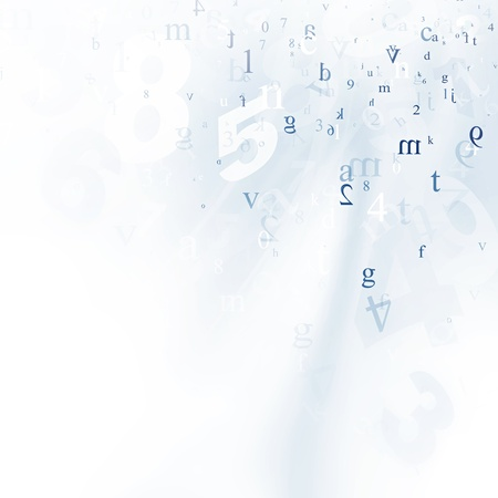 mathematics symbol: Abstract mathematics white and blue background Stock Photo