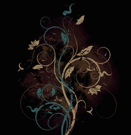 bitmap: Bitmap grunge background with floral ornate design
