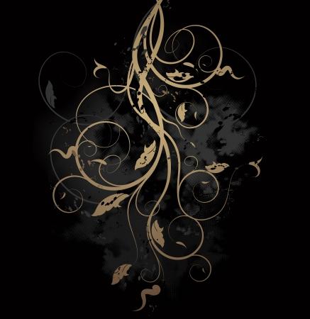 Vector grunge background with floral ornate design Illustration