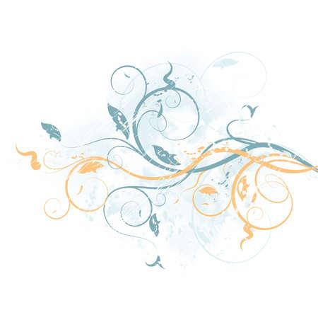 Vector grunge background with floral ornate design Vector