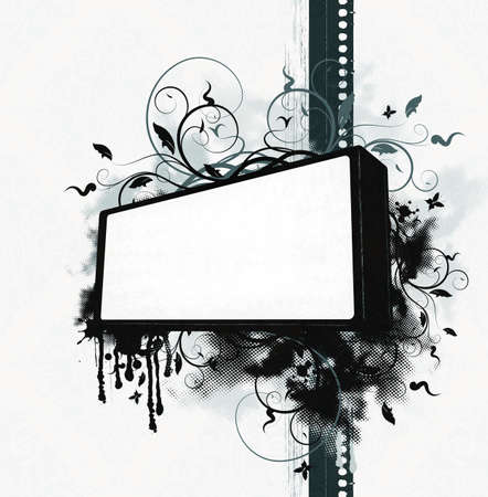 Grunge bitmap background with ornate elements