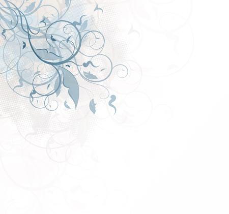Bitmap grunge background with floral ornate design