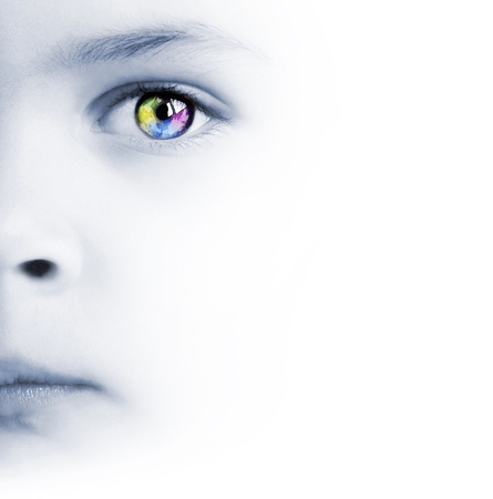 International background with beauty childs face, colorful eye and map