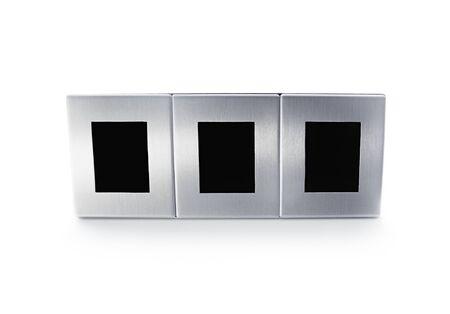 triplex: Metallic modern triplex picture frame isolated on white background