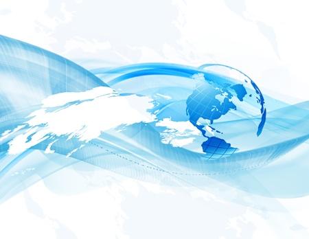 communicatie: Zakelijke achtergrond met globe abstract en kaart (bitmap) Stockfoto