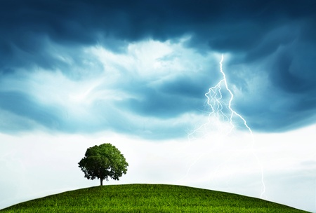 Landscape with storm and tree photo