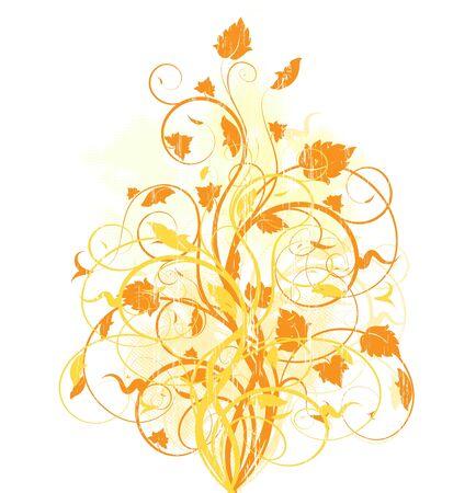 Autumn grunge background with floral design