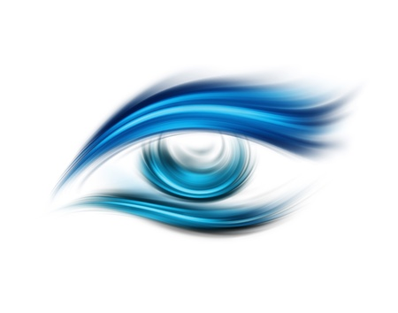 design visionary: Abstract blue eye on a white background