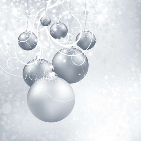 Silver Christmas background with balls, snowflakes, candy and stars Stock Photo - 10674981