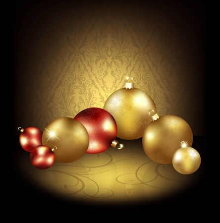 Christmas background with gold and red balls and ornament Stock Photo - 10674985
