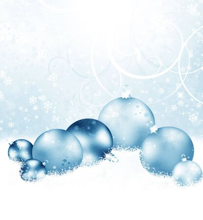 Christmas background with snowflakes, balls and stars Stock Photo - 10674986