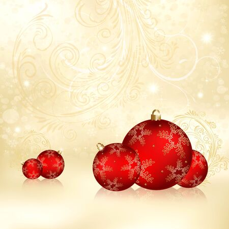 Golden Christmas background with balls, candy and stars