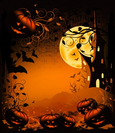 Halloween illustration background with pumpkin, castle, moon and ornate illustration