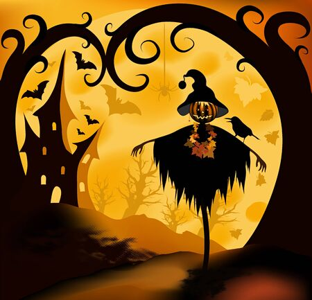 Halloween illustration background with scarecrow; moon and castle  illustration