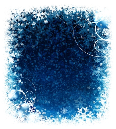 Winter Christmas background with balls and snow