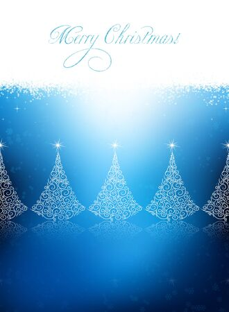 Bitmaped Christmas background with design trees, stars and snowflakes Stock Photo - 10795308