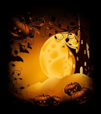 fruit bat: Halloween bitmap illustration background with pumpkin, castle, moon and ornate
