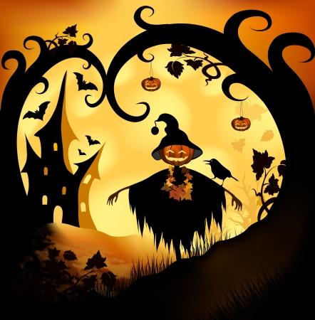 scarecrow: Halloween bitmap illustration background with pumpkin