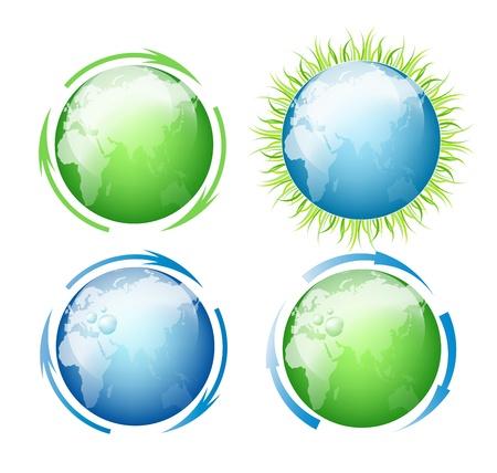 logo recyclage: Set de globes (Ecologie catégorie et l'Environnement) Illustration