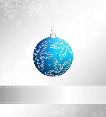 Christmas event vector card with blue and silver ball Vector