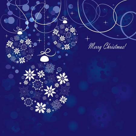 christmas backgrounds: Blue vector candy background with Christmas design ball