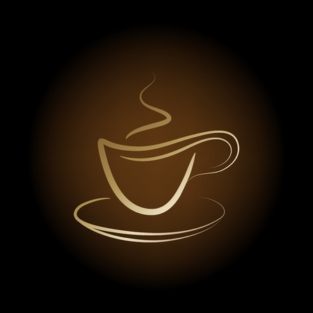 cappuccino: design golden cup off coffee on a brown background
