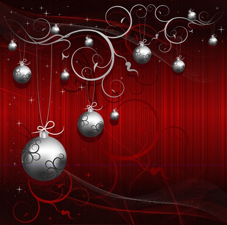 christmas backgrounds: Christmas background with silver event design ball and stars