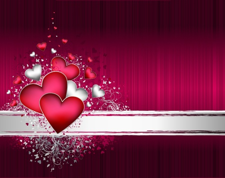 Valentines vector background with floral ornate and hearts Vector