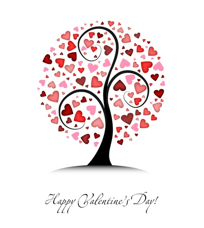 Valentines vector background with tree and hearts