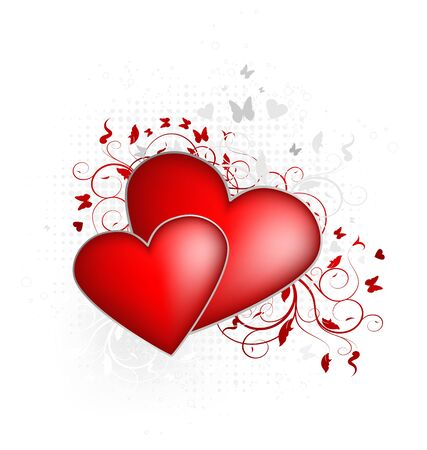 two hearts: Valentines vector illustration with two hearts and floral ornate
